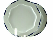 Dinner Plates Crate and Barrel White Blue Scalloped Trim & Center 2pcs 10.75""