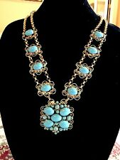 KENNETH J. LANE JULIANA D&E TURQUOISE CABOCHON GOLD-TONE HEART SCROLL NECKLACE