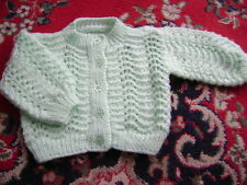 """New Hand Knitted Mint Green Fan & Feather Lacy Cardigan ~20/22"""" chest"""