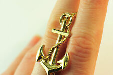 "LADIES GOLDEN ANCHOR ""SAILOR"" DOUBLE RING STATEMENT CHUNKY UNIQUE (CL10)"