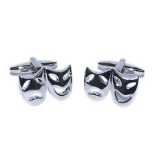 Silver & Black Deluxe Theatre Face Masks Cufflinks Drama Actor Actress New