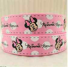 1 METRE MINNIE MOUSE PINK + WHITE RIBBON SIZE 1 INCH BOWS HEADBAND BIRTHDAY CAKE