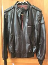 MEN'S VINTAGE 1970s MEMBERS ONLY CAFE RACER BROWN LEATHER MOTORCYCLE JACKET! 42