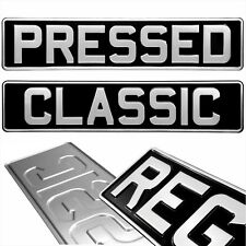 Black Silver Pressed Pair Number Plates, Car 2x Plate Metal Classic UK Aluminium