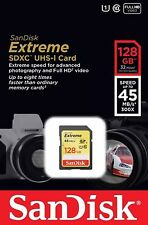 SANDISK EXTREME SDXC UHS-I CARD. 128GB 45/MBS 300X. BRAND NEW