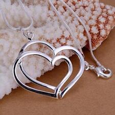 bijou collier châine necklace  pendentif 2 coeurs entrelacés argent 925