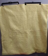Vintage Cotton Quilted Yellow Bedspread Coverlet Throw Blanket Full Queen 88x92