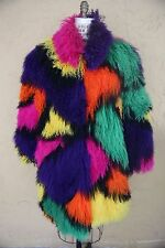 Vtg Mongolian Tibetan Lamb Shaggy Fur Coat Jacket Avant Garde Multi Color Block