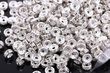 100 Pcs 6mm Silver Plated Crystal Spacers Rondelle Beads Jewelry Findings Charms