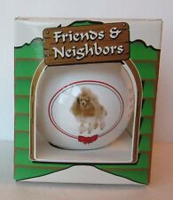 WHITE POODLE ROUND GLASS CHRISTMAS ORNAMENT, Dog