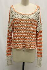 Free People Orange Rolling In The Deep Cropped Pullover Loose Knit Sweater Sz L