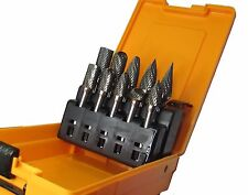 RDG TOOLS Industrial Quality Carbide Burr Set 10pc 6mm shank double cut MILLING
