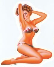 SEXY VINTAGE Nostalgic Fifties PIN-UP GIRL red white flower BIKINI STICKER/DECAL