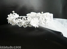 Elegant girl long tulle first communion crystal organza flower rhinestone veil