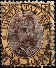 ITALIA - Regno - 1889 - Effigie di Umberto I° - 1 lira bruno e giallo -