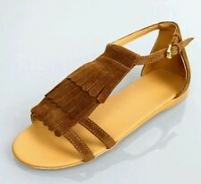 NIB NEW Gucci girls brown suede leather fringe sandals shoes 27 10.5