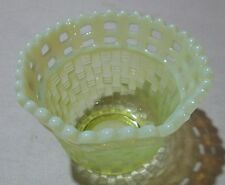 Canary Opal Basketweave Glass dish Vintage Rare color Opalesence
