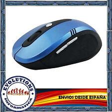 RATON INALAMBRICO SIN CABLES SENSOR OPTICO ADAPTADOR USB AZUL PORTATIL PC