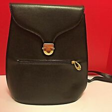 Lancaster Paris Made In France Black Saffiano Leather Backpack Gold Hardware