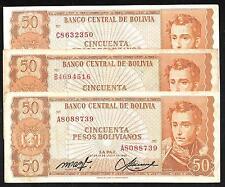 Bolivia - Complete Set/24 Alpha Notes A-Z - 50 Pesos Bolivianos - FINE to XF