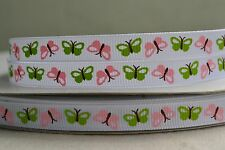 """10mm (3/8"""") WHITE w/ PINK & GREEN BUTTERFLY grosgrain ribbon 3mtrs for crafts"""
