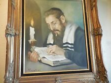 Oil on Canvas Painting of Rabbi Reading Holy book by Candle Signed Bodini