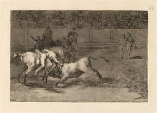 Goya Prints: La Tauromaquia: Bullfights: Ceballos kills the bull: Fine Art Print