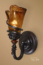 """14"""" TUSCAN BRONZE METAL & GLASS ELECTRIC WALL SCONCE LIGHT FIXTURE RUSTIC"""