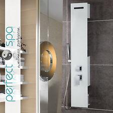 Luxus Glas Duschpaneel Amazonas II Weiß Duschsäule Duschset Regendusche Neu