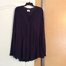 New Eyeshadow -Navy Color With Crochet Lace Front Women Tunic Top plus Size 2X