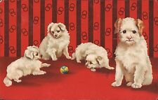DOG Postcard~Fluffy White Terrier Momma Dog & Three Puppies Playing With A Ball