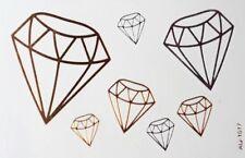 Body art : Tatouage temporaire modèle 7 diamants dorés et argentés