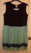 NEW NWOT Sweet Sleeveless Sexy Green & Black Polka Dots Dress Plus Size 18W