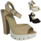SALE!! WOMENS LADIES PLATFORM HIGH BLOCK HEEL CLEATED SOLE SHOES SANDALS SIZE