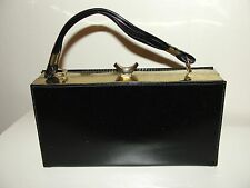 VINTAGE 50s LOVELY!!BLACK PATENT LEATHER& GOLD BOX  CLUTCH HANDBAG PURSE BAG