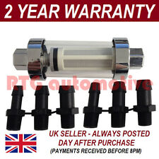 6mm 8mm 10mm MULTI FIT LARGE IN LINE FUEL FILTER CHROME METAL & GLASS x1