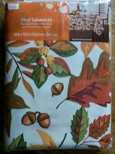 "Extra Large Vinyl Tablecloth 60"" x 102"" ~ Autumn Fall Leaves Berries & Acorns"
