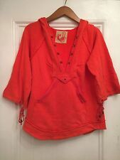 Free People Women's Bright Orange Ribbed Knit Hook Pullover Pocket Hoodie L EUC!