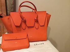 $3.5K RARE CHIC EXQUISITE simply STUNNING CELINE orange Luggage Leather Bag