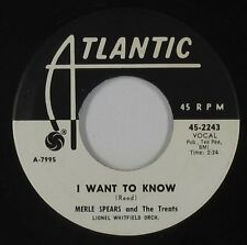 Northern Soul R&B 45 - Merle Spears & Treats - I Want To Know - Atlantic VG+ mp3