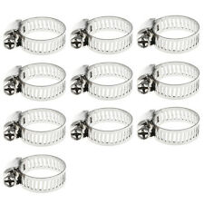 "10Pcs 3/8""-1/2"" Adjustable Stainless Steel Drive Hose Clamp Fuel Line Worm Clip"