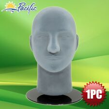 Male foam Grey velvet MANNEQUIN head holder base display wig hat glasses 11""