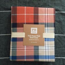Pottery Barn Teen twin Field House Plaid Duvet Cover only orange