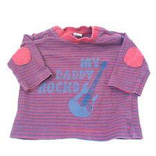 Bleu rouge papa elbow patched guitar t-shirt top bébé garçon 0-3 mois vêtements