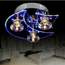 Home Blue Crystal LED Pendant Lamp Lighting Ceiling Light Rain Drop Chandelier