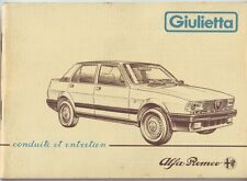 USER'S MANUAL ALFA ROMEO ALFA GIULIETTA ORIGINAL '80