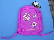 Ed Hardy Backpack NWT Violet Purple Tatoo Design Back Pack Rhinestone Padded