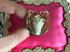 Betsey Johnson Vintage Indian Summer Horseshoe White Horse Gold Western Ring 7.5