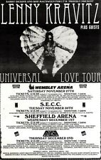 28/8/93PGN47 LENNY KRAVITZ : UNIVERSAL LOVE TOUR ADVERT 7X5""