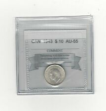 **1943** Coin Mart Graded Canadian,  10  Cent, **AU-55**